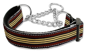 Preppy Stripes Nylon Ribbon Collars Martingale Brown/Khaki Medium