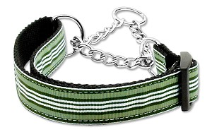 Preppy Stripes Nylon Ribbon Collars Martingale Green/White Medium