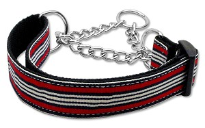 Preppy Stripes Nylon Ribbon Collars Martingale Red/White Medium