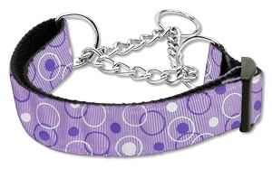 Retro Nylon Ribbon Collar Martingale Lavender Medium
