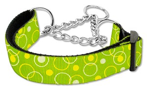 Retro Nylon Ribbon Collar Martingale Lime Green Medium