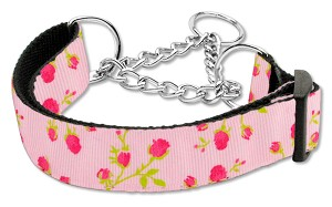Roses Nylon Ribbon Collar Martingale Medium Light Pink