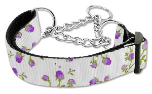 Roses Nylon Ribbon Collar Martingale Large Purple