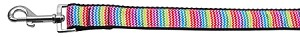 Zigzaggy Rainbow Nylon Ribbon Dog Collars 1 wide 4ft Leash