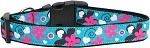 Aqua Love Nylon Ribbon Dog Collars Medium