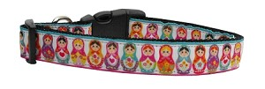 Pretty Nesting Dolls Nylon Ribbon Dog Collars Medium