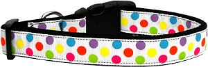 White Multi-Dot Dog Collar Large