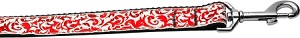 Red and White Shimmer 1 inch wide 6ft long Leash