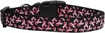 Pink Ribbons on Black Dog Collar Medium