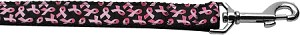 Pink Ribbons on Black 1 inch wide 4ft long Leash