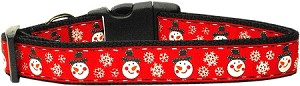Snowmen Dog Collar Medium