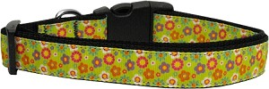 Lime Spring Flowers Dog Collar Large
