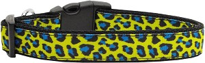 Blue and Yellow Leopard Nylon Dog Collars Medium