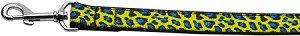 Blue and Yellow Leopard Nylon Dog Leashes 4 Foot Leash