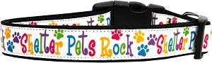 Shelter Pets Rock Nylon Ribbon Dog Collars Medium