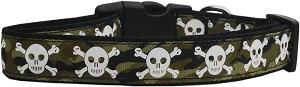 Camo Skulls Nylon Dog Collars Medium