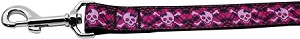 Hot Pink Plaid Skulls Nylon Dog Leashes 6 Foot Leash