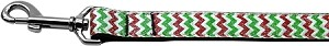 Christmas Sparkle Chevron Nylon Dog Leashes 1 inch wide 6ft Long