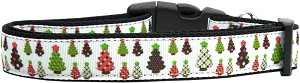 Designer Christmas Trees Nylon Dog Collars Medium