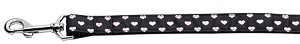 Pink and Black Dotty Hearts Dog Leash 6 Foot Leash