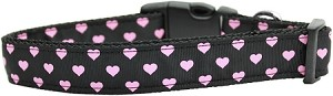 Pink and Black Dotty Hearts Nylon Dog Collars Medium