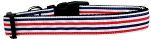 Patriotic Stripes Nylon Ribbon Dog Collar Medium