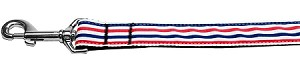 Patriotic Stripes Nylon Ribbon Pet Leash 1 inch wide 4Ft Lsh