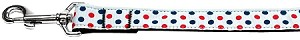Patriotic Polka Dots Nylon Ribbon Pet Leash 1 inch wide 6Ft Lsh