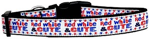 Red, White, and Cute! Nylon Dog Collar Medium