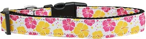 Pink and Yellow Hibiscus Flower Nylon Dog Collar Large
