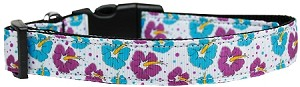 Blue and Purple Hibiscus Flower Nylon Dog Collar Large