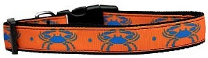 Blue Crabs Nylon Dog Collar Medium