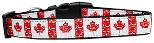 Canadian Flag in Swirls Nylon Dog Collar Medium