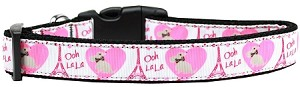 Oh La La Paris Nylon Dog Collar Large