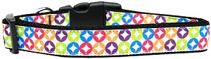 Bright Diamonds Nylon Ribbon Dog Collar Medium