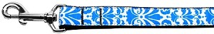 Damask Nylon Dog Leash 4 Foot Blue