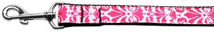 Damask Nylon Dog Leash 6 Foot Bright Pink