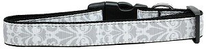 Damask Nylon Dog Collar Large Grey