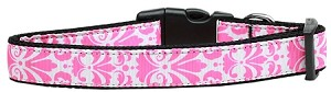 Damask Nylon Dog Collar Large Light Pink