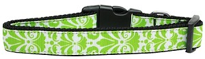 Damask Nylon Dog Collar Medium Lime Green