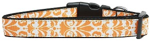 Damask Nylon Dog Collar Medium Orange