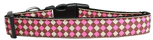 Pink Checkers Nylon Dog Collar Large