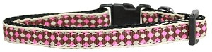 Pink Checkers Nylon Dog Collar XS