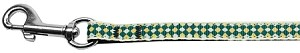 Green Checkers Nylon Dog Leash 3/8 wide 6Ft Lsh