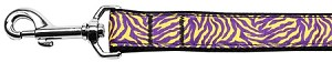 Purple and Yellow Tiger Stripes Nylon Dog Leash 4 Foot