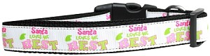 Santa Loves Me Best Nylon Dog Collar Medium