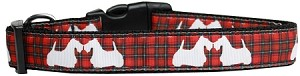 Red Plaid Scottie Pups Nylon Dog Collar Medium
