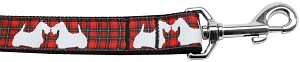 Red Plaid Scottie Pups Nylon Dog Leash 6Ft