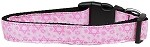 Pink Star of David Nylon Dog Collar Medium