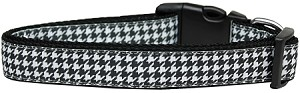 Black Houndstooth Nylon Dog Collar Medium
